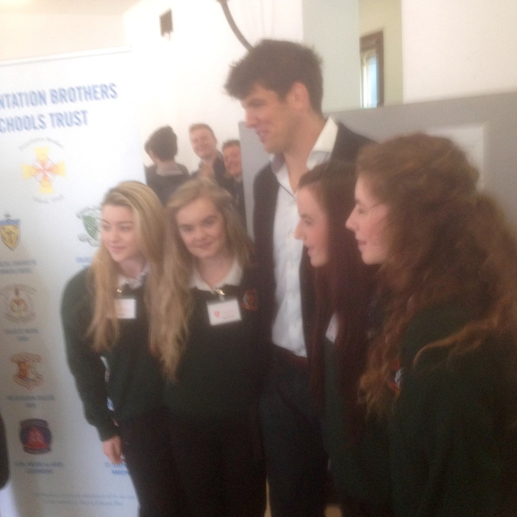 Donncha O' Callaghan with students from Coláiste Muire, Cobh